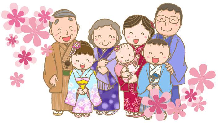 家族でお宮参りのイメージ